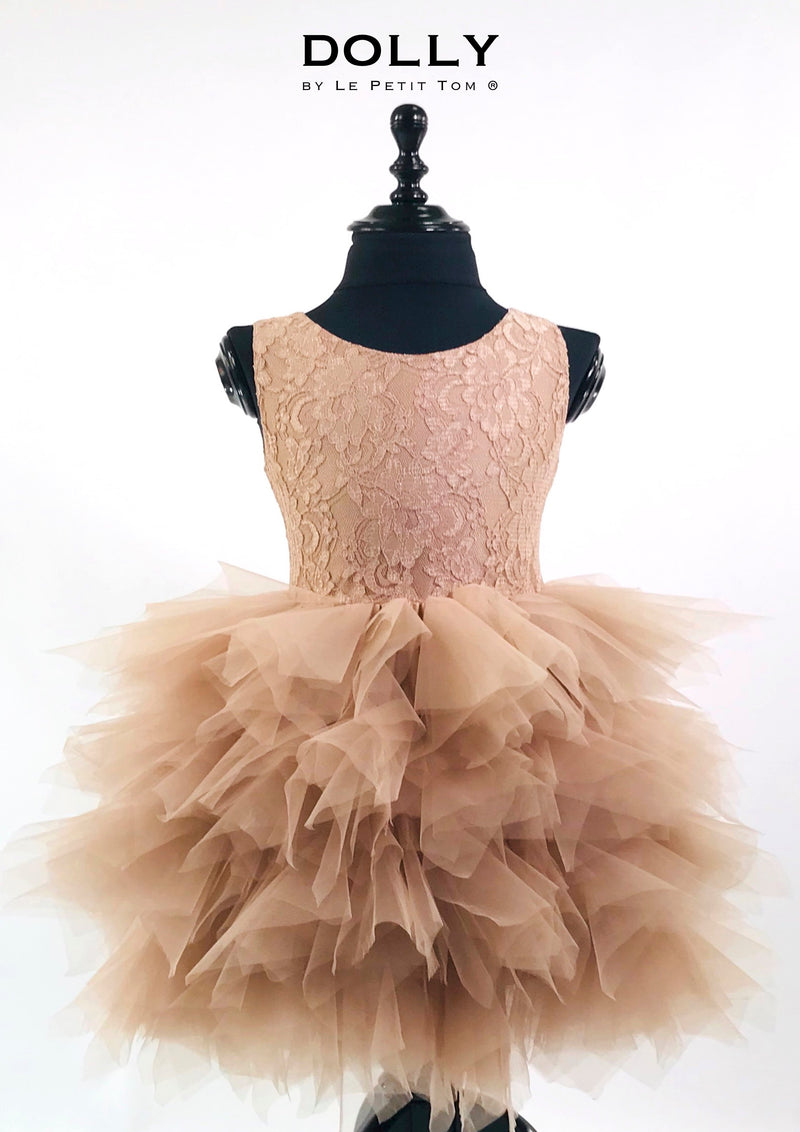 DOLLY by Le Petit Tom ® LACY PIROUETTE TUTU DRESS taupe