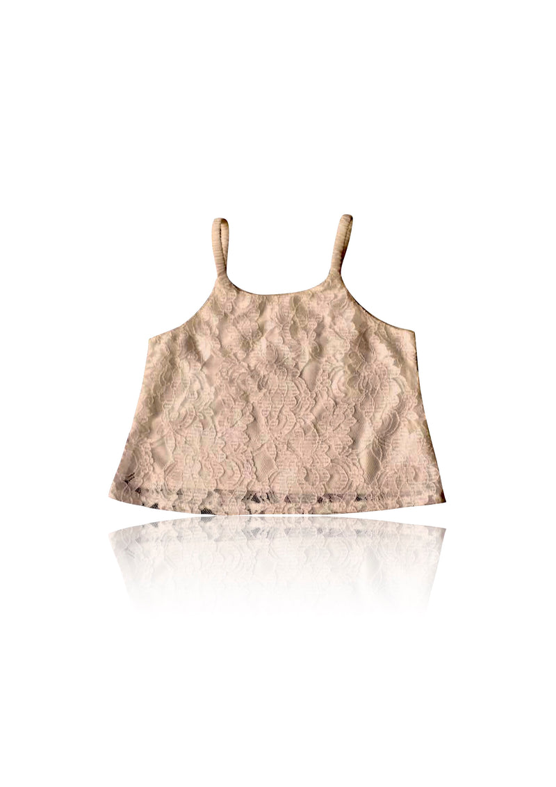 DOLLY by Le Petit Tom ® LACY SPAGHETTI TOP taupe