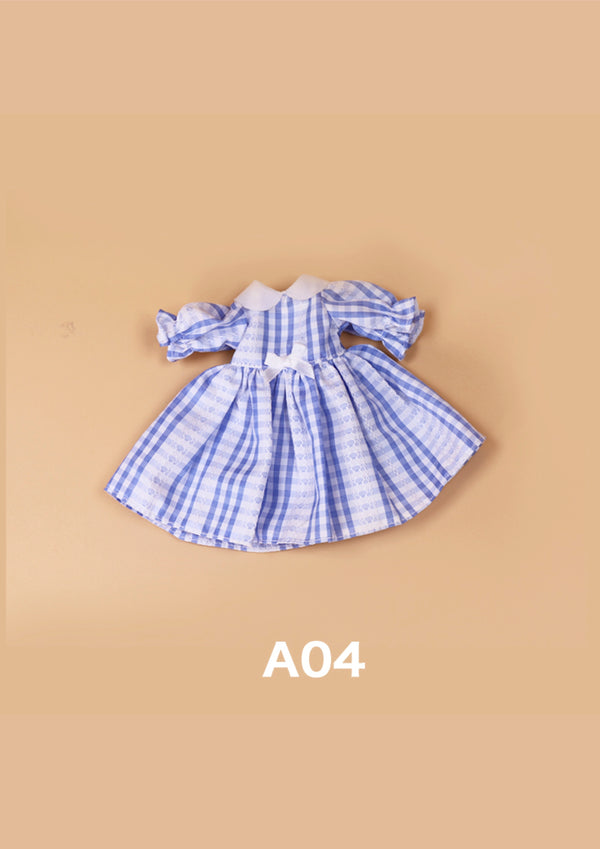 DOLL CLOTHING A04 for LUCKY Doll Bjd 1/6 checkered dress blue