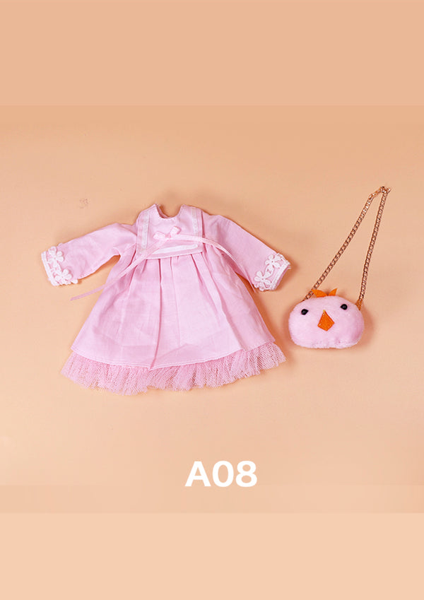 DOLL CLOTHING A08 for LUCKY Doll Bjd 1/6  pink dress, chicken bag