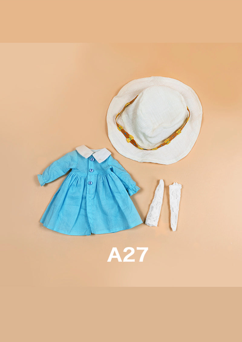 DOLL CLOTHING A27 for LUCKY Doll Bjd 1/6  blue coat, hat, socks