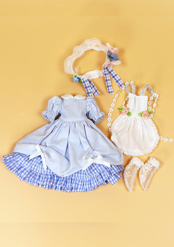 DOLL CLOTHING SET D01 for LUCKY Doll Bjd 1/6 dress, apron, socks, hair piece