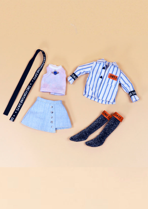 DOLL CLOTHING SET D02 for LUCKY Doll Bjd 1/6 skirt, blouse, long socks, top, belt