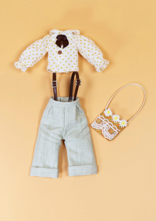 DOLL CLOTHING SET D05 for LUCKY Doll Bjd 1/6 blouse, salopette, bag