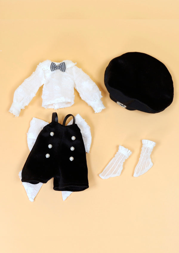 DOLL CLOTHING SET D08 for LUCKY Doll Bjd 1/6 salopette, blouse, socks, hat