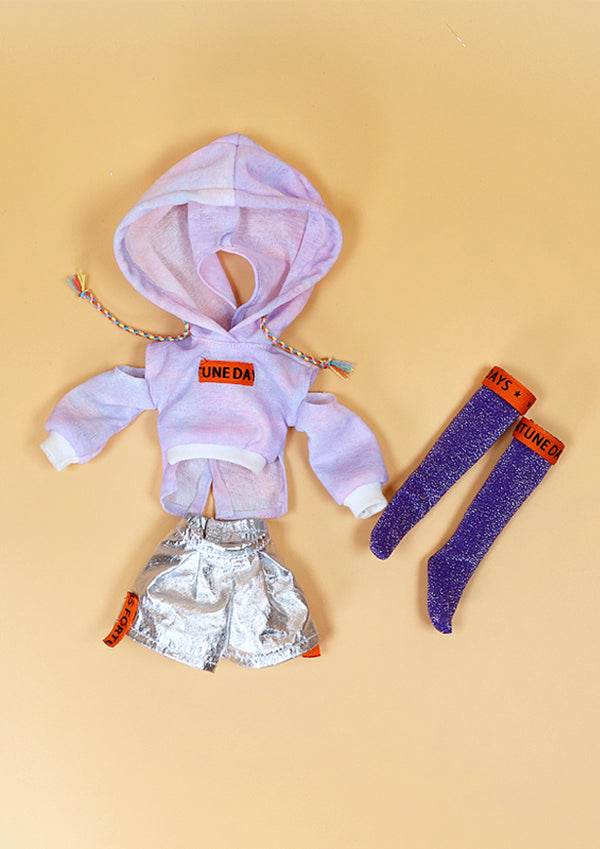 DOLL CLOTHING SET D09 for LUCKY Doll Bjd 1/6 hoodie, shorts, socks