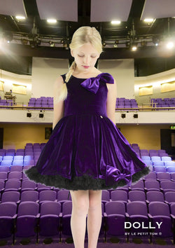 DOLLY by Le Petit Tom ® VELVET THE MISS BALLET petticoat dress purple - DOLLY by Le Petit Tom ®