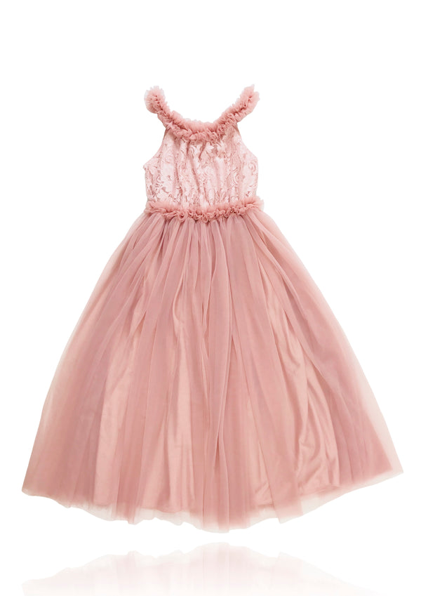 [ OUTLET! } DOLLY by Le Petit Tom ® LACY NECKLACE MAXI TUTU DRESS pink