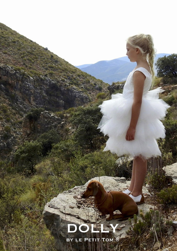 DOLLY by Le Petit Tom ® LACY PIROUETTE TUTU DRESS white