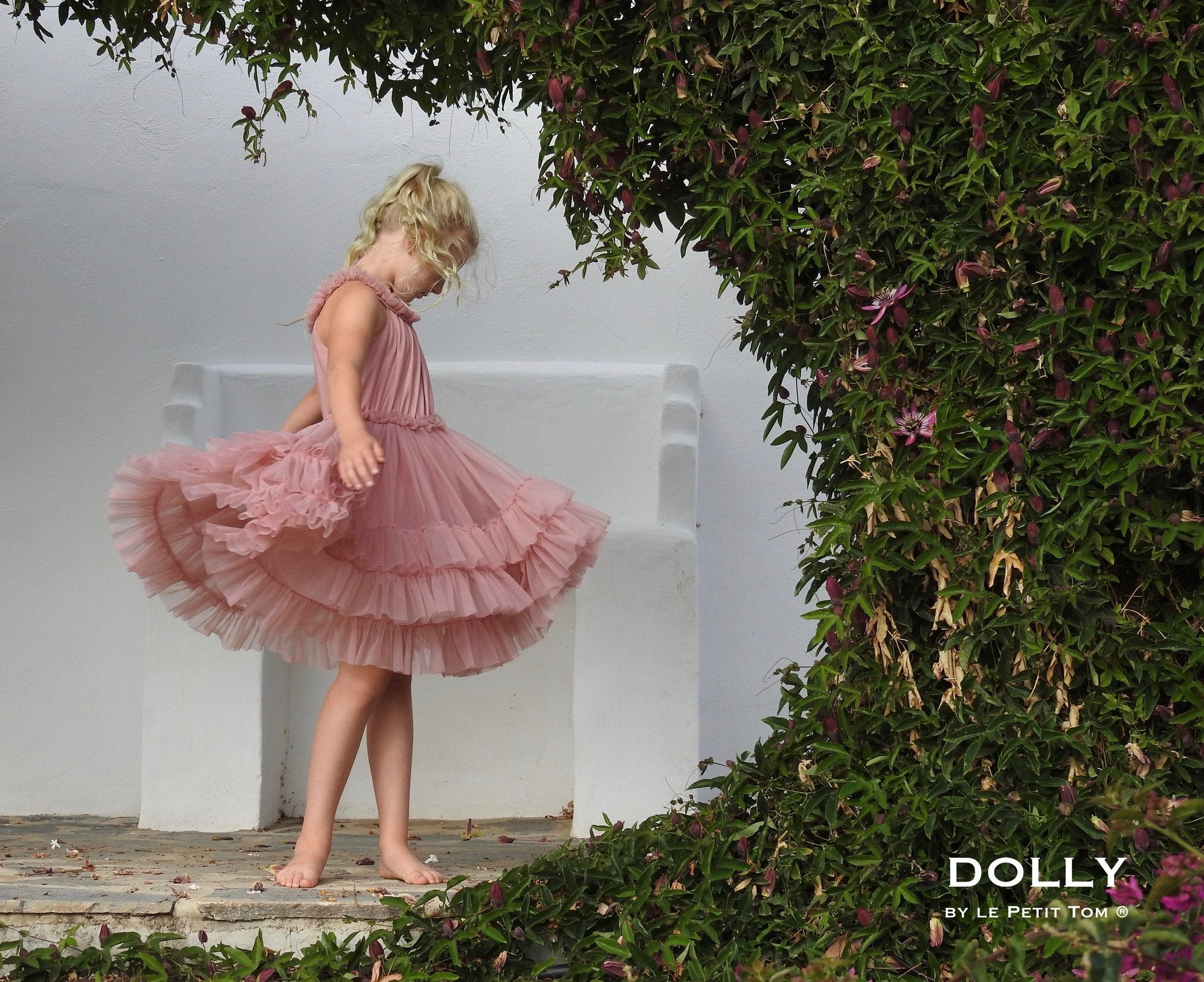 DOLLY by Le Petit Tom ® RUFFLED CHIFFON DANCE DRESS dusty pink - DOLLY by Le Petit Tom ®