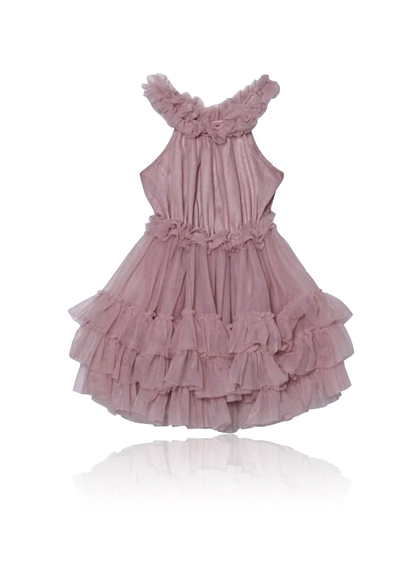 DOLLY by Le Petit Tom ® RUFFLED CHIFFON DANCE DRESS dusty pink