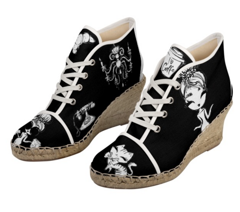 [MADE TO ORDER!] DOLLY GOLIGHTLY WEDGE ESPADRILLES black & white