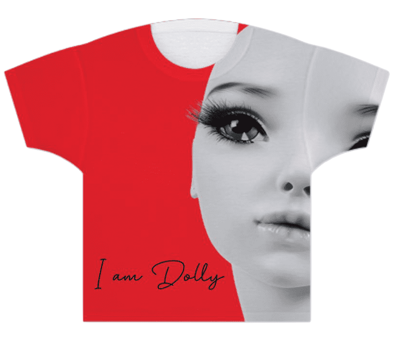 GIRLS T-SHIRT I AM DOLLY red