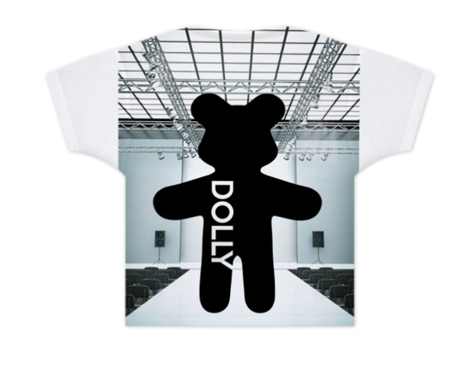 DOLLY GIRLS T-SHIRT TEDDY CAT WALK white