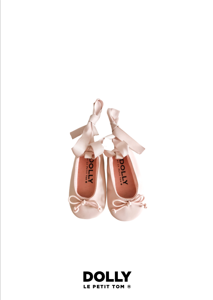 DOLLY by Le Petit Tom ® BABY BALLERINAS WITH RIBBONS pink