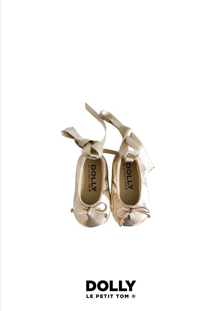 DOLLY by Le Petit Tom ® BABY BALLERINAS WITH RIBBONS gold