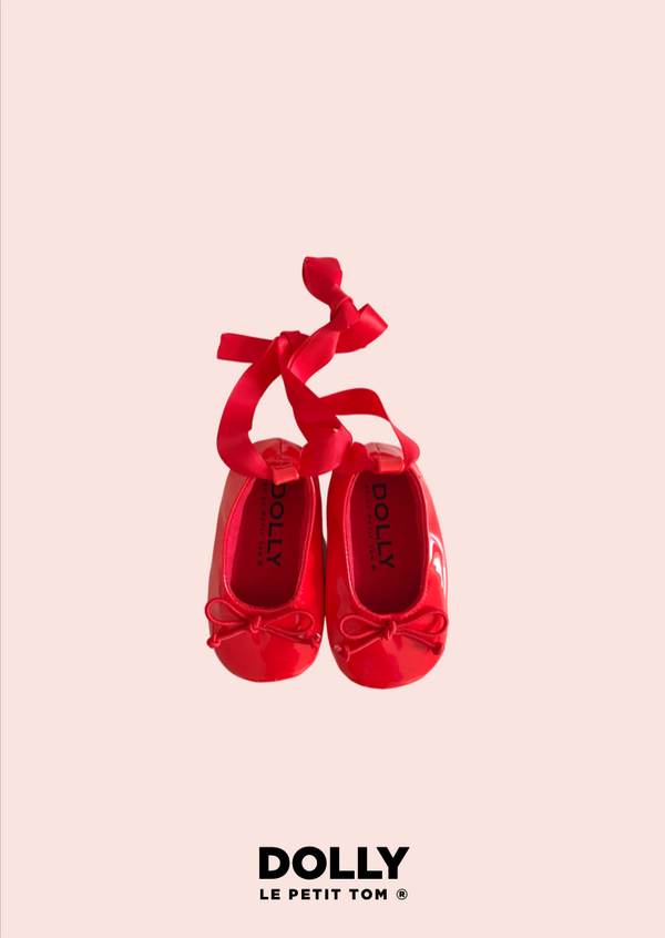 DOLLY by Le Petit Tom ® BABY BALLERINAS WITH RIBBONS red