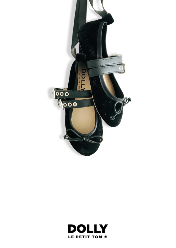 DOLLY VELVET BUCKLE BELT BALLERINAS WITH RIBBONS ( Including FREE Buckle Belt!) black