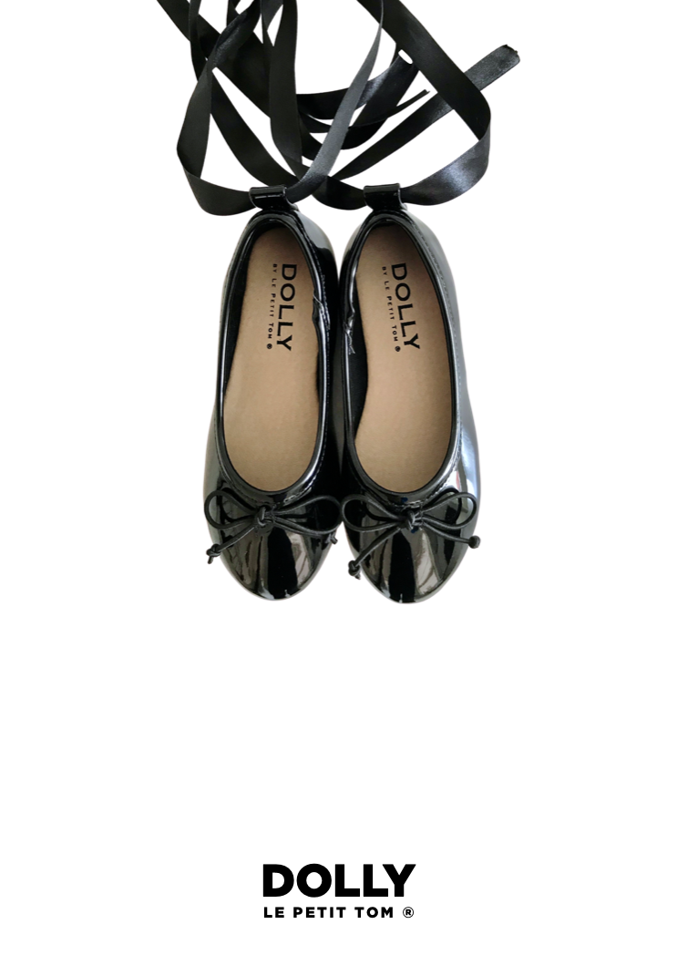 DOLLY by Le Petit Tom ® CLASSIC BALLERINAS WITH LACE UP RIBBONS black