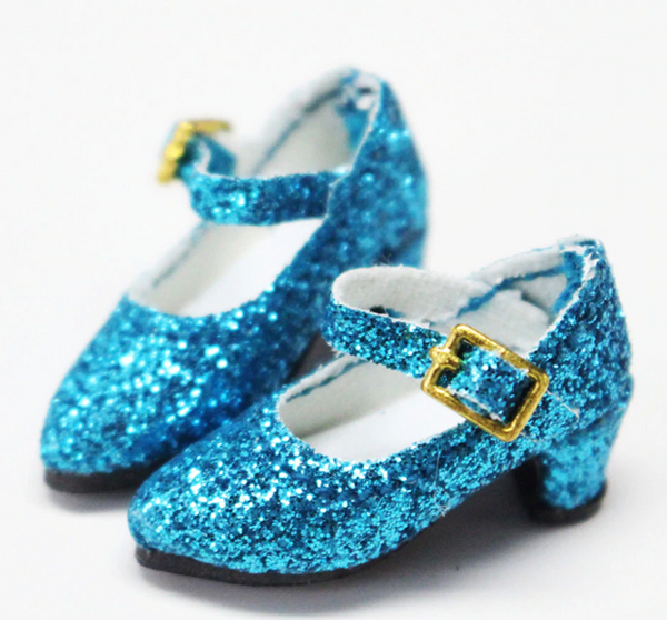 ANGELA Doll GLITTER PUMPS SHINY HEELS SHOES blue