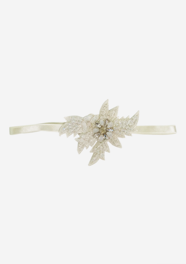 DOLLY JEWELER'S CRYSTALS Clear Quartz crystals elastic headband