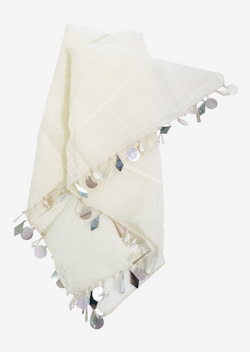 [ OUTLET!] DOLLY by Le Petit Tom ® JEWELER'S CRYSTALS cotton square scarf with sequins