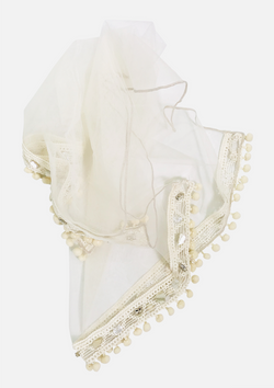[ OUTLET!]  DOLLY by Le Petit Tom ® JEWELER'S CRYSTALS tulle square scarf with pompoms