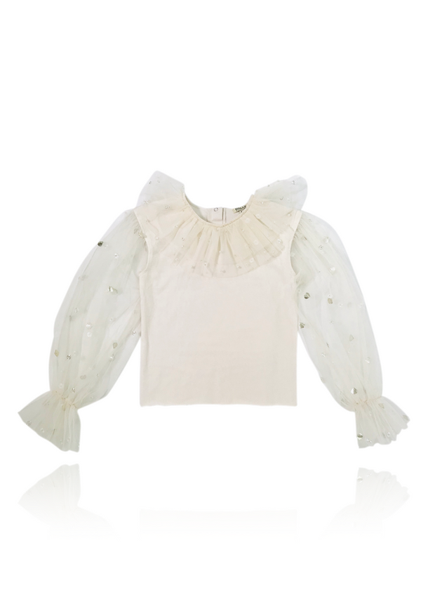 DOLLY by Le Petit Tom ® JEWELER'S CRYSTALS tulle sleeves top