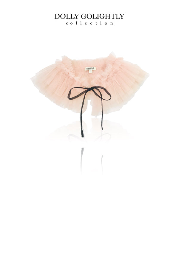 DOLLY GOLIGHTLY TULLE NECK RUFFLE ballet pink