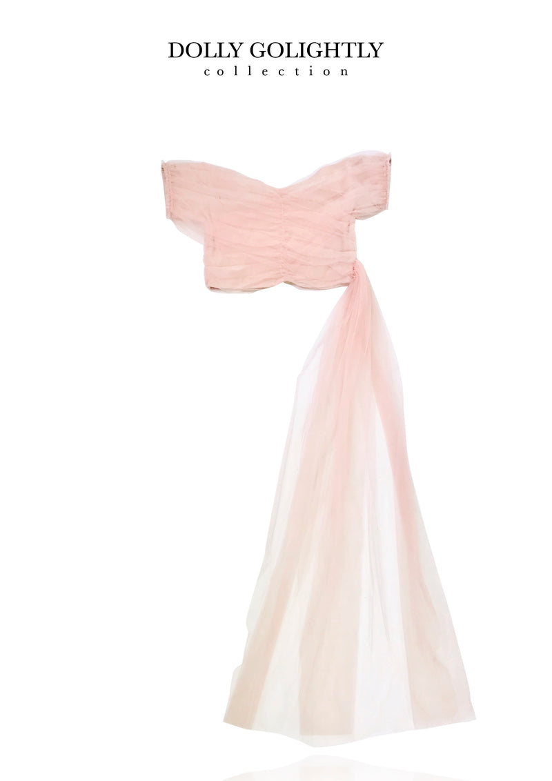 [ OUTLET] DOLLY GOLIGHTLY TULLE WRAP TOP WITH SLOOP ballet pink