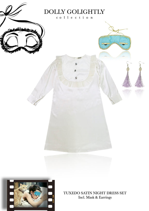 [EXPECTED NOV.] DOLLY GOLIGHTLY Breakfast @ Tiffany's TUXEDO SLEEP DRESS SET  off-white