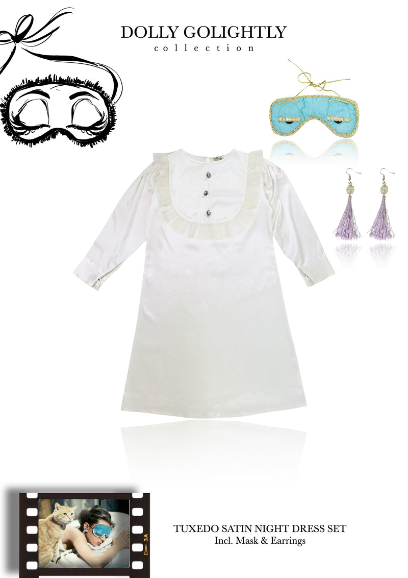 [ OUTLET] DOLLY GOLIGHTLY Breakfast @ Tiffany's TUXEDO SLEEP DRESS SET  off-white