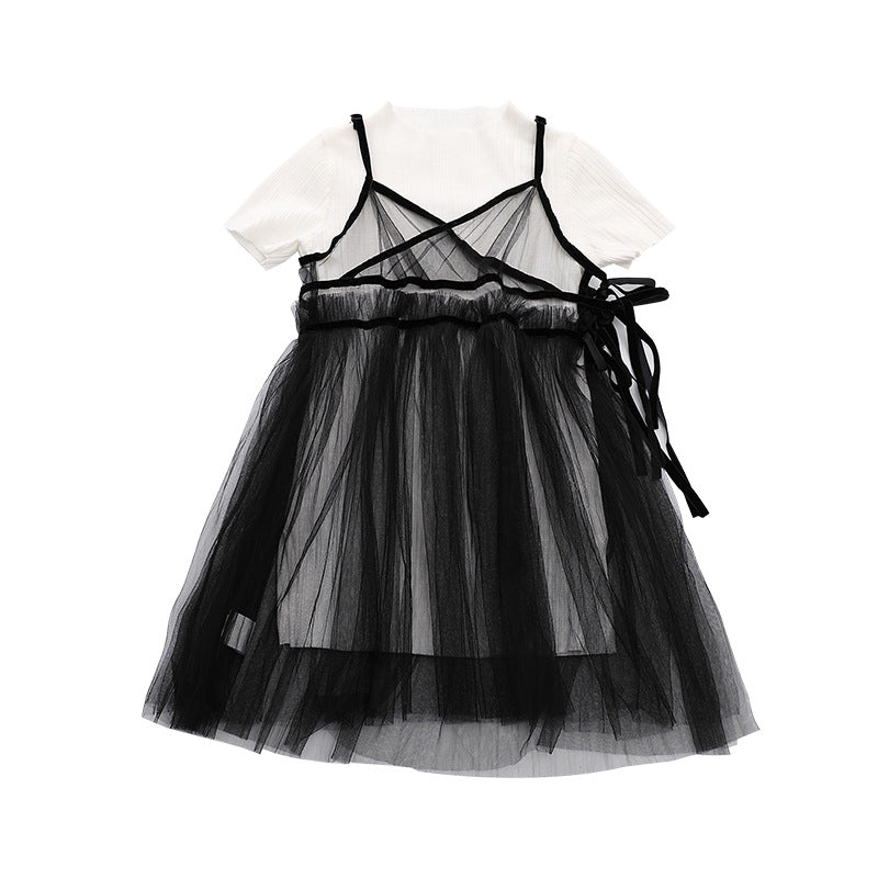 DOLLY by Le Petit Tom ® TWO PIECE TULLE WRAP DRESS black
