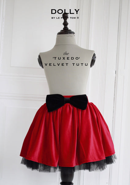 DOLLY by Le Petit Tom ® VELVET THE TUXEDO TUTU red