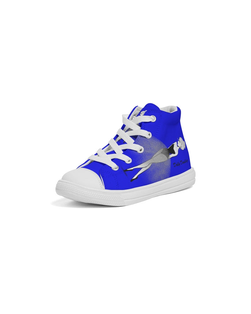 DOLLY DOODLING Ballerina YinMin Blue Kids Hightop Canvas Shoe