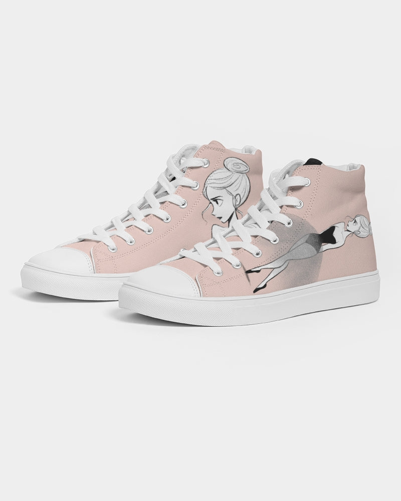 DOLLY DOODLING Ballerina Ballet Blush Pink Women's Hightop Canvas Shoe
