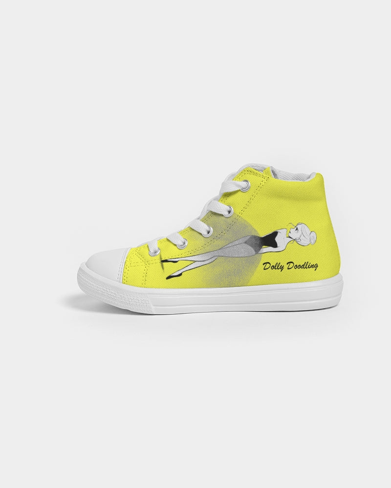 DOLLY DOODLING Ballerina Sunshine Neon Yellow Kids Hightop Canvas Shoe