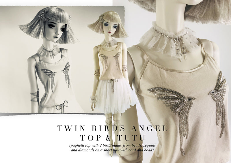 DOLLY by Le Petit Tom ® ANGELS twin birds top coffee - DOLLY by Le Petit Tom ®