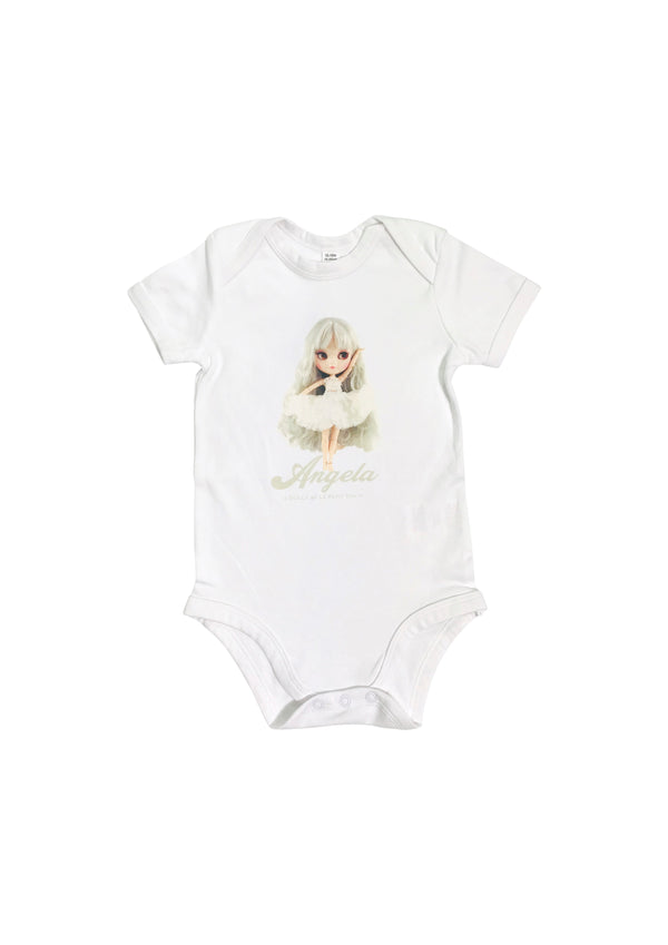 ANGELA DOLLY by Le Petit Tom ® Baby Romper Onesie Angela doll white