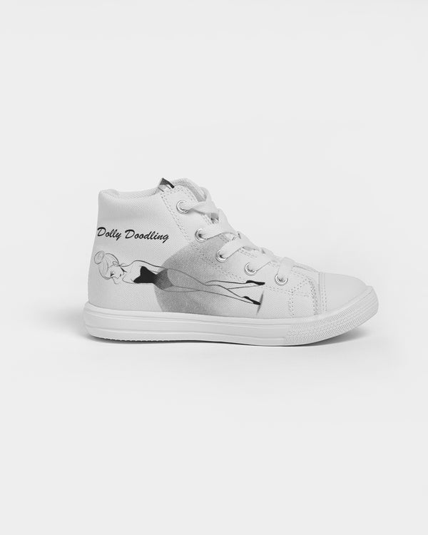 DOLLY DOODLING Ballerina White Kids Hightop Canvas Shoe