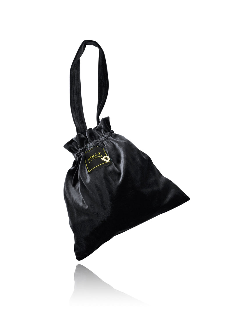 DOLLY by Le Petit Tom ® VELVET POUCH BAG black - DOLLY by Le Petit Tom ®