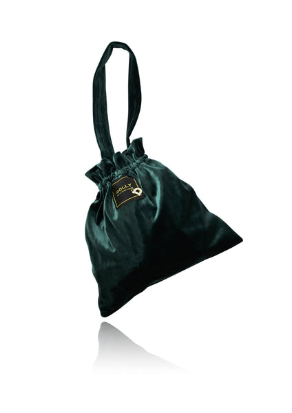 DOLLY by Le Petit Tom ® VELVET POUCH BAG emerald