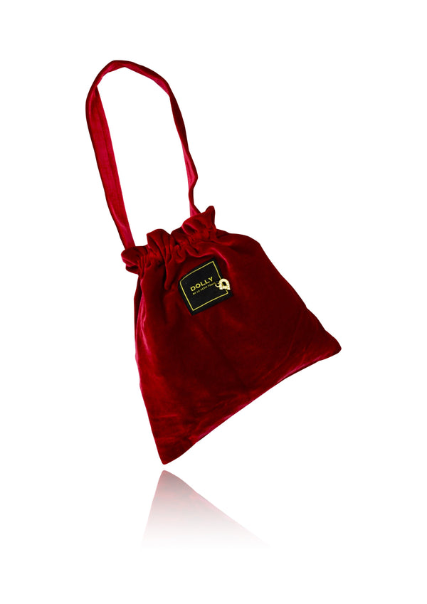 DOLLY by Le Petit Tom ® VELVET POUCH BAG red - DOLLY by Le Petit Tom ®