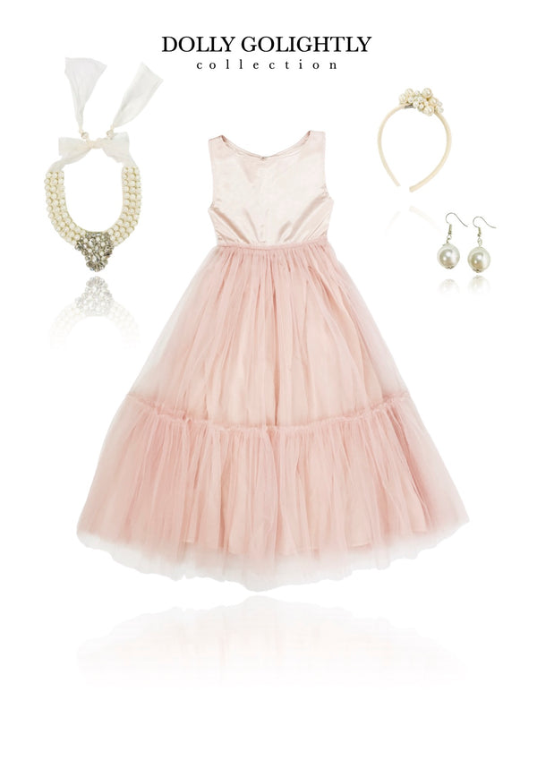 DOLLY GOLIGHTLY Breakfast @ Tiffany's SATIN MAXI TUTU DRESS SET INCL. JEWELRY ballet pink