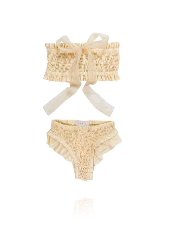 DOLLY by Le Petit Tom ® SMOCKED BIKINI/ UNDERWEAR cream