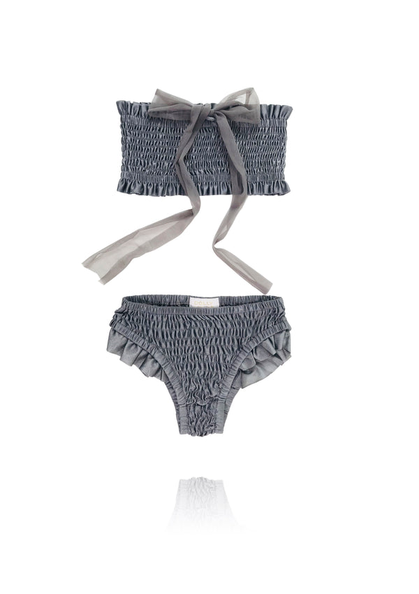 [ OUTLET!] DOLLY by Le Petit Tom ® SMOCKED BIKINI/ UNDERWEAR dark grey