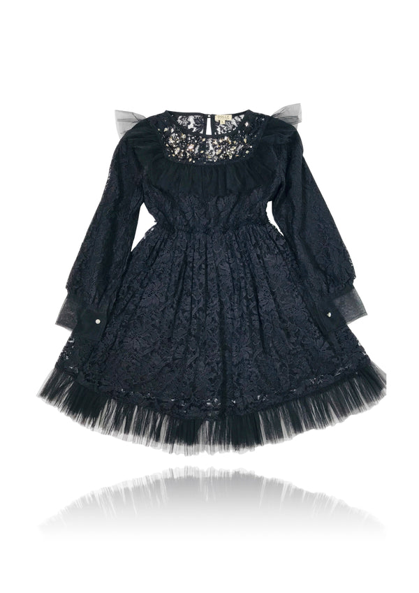 [ PRE ORDER !] DOLLY by Le Petit Tom ® JEWELER'S CRYSTALS Lace dress with chest ruffle black