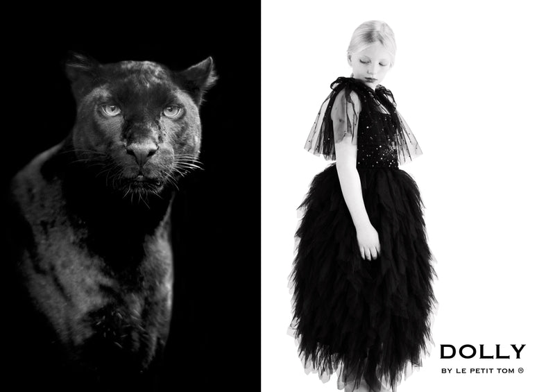 DOLLY by Le Petit Tom ® BLACK PANTHER cape black - DOLLY by Le Petit Tom ®