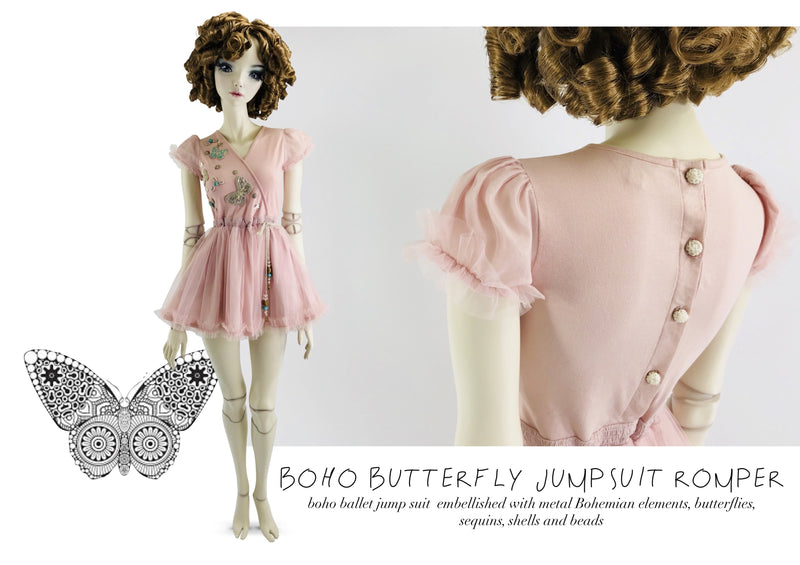 DOLLY by Le Petit Tom ® BOHO butterflies jumpsuit romper rosepink - DOLLY by Le Petit Tom ®