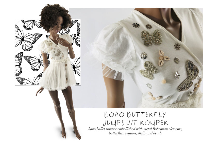 DOLLY by Le Petit Tom ® BOHO butterflies jumpsuit romper white - DOLLY by Le Petit Tom ®